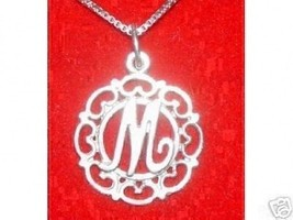 New Real Sterling Silver Pendant Charm Initial Letter Fancy M Elegant Jewelry - $14.36