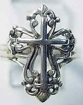 Lord Jesus Filagree Cross ring Sterling Silver Any size - $28.98