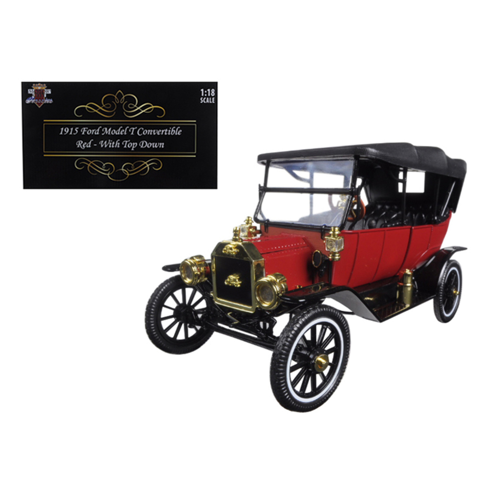 1915 Ford Model T Red with Black Soft Top 1/18 Diecast Model Car by Motorcity Cl
