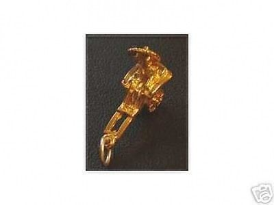 Primary image for 1536 Chariot Pendant  Charm Gold Plated Rickshaw