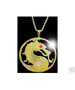 Mortal Kombat MK9 X shaolin monks Gold plated over silver MK Jewelry Dragon - $63.18