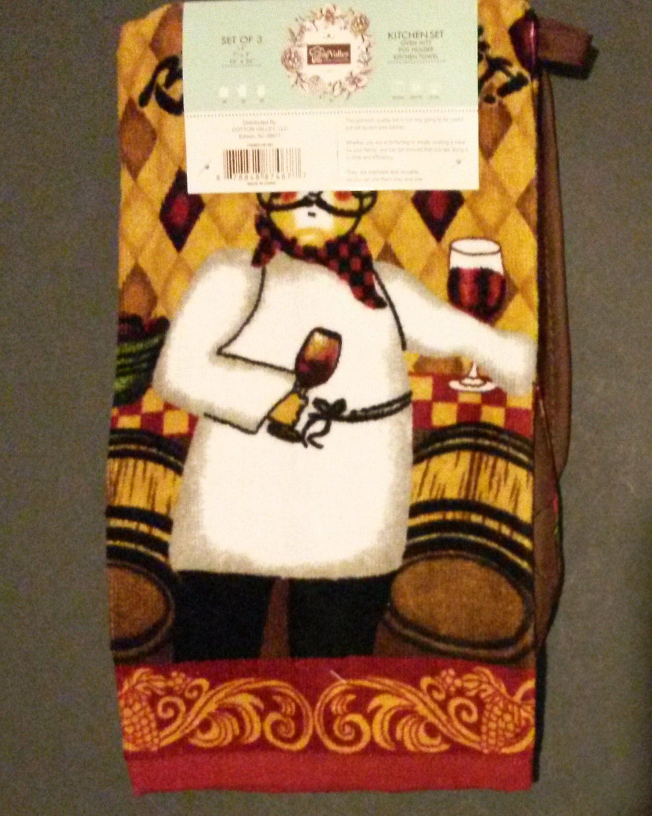 WINE CHEF theme KITCHEN TOWEL SET 3-pc Fat Chef with Oven Mitt Potholder NEW