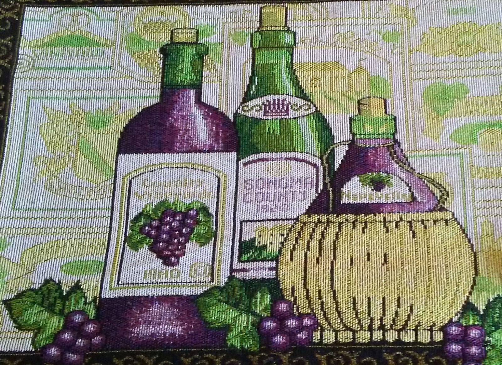 WINE TAPESTRY PLACEMATS Set of 4 Sonoma Vineyard Purple Green Fabric 13x19 NEW