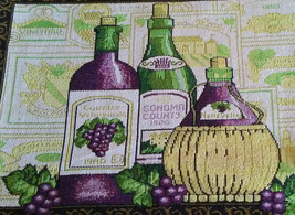 WINE TAPESTRY PLACEMATS Set of 4 Sonoma Vineyard Purple Green Fabric 13x19 NEW image 2