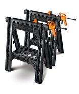 WORX Clamping Sawhorse Pair with Bar Clamps, Bu... - $90.09