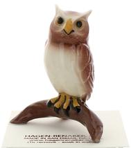 Hagen-Renaker Miniature Ceramic Bird Figurine Owl Great Horned on Branch