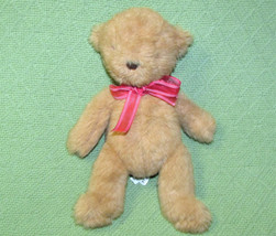 """Jellycat Baby Brown Teddy Bear Soft Toy 10"""" Red Ribbon Stuffed Animal Lovey - $24.75"""