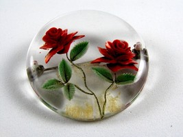 1950's Lucite Rose Flower Brooch 72514 - $22.99