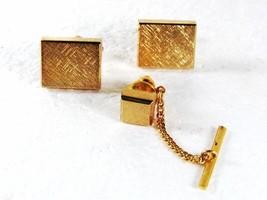 Goldtone Dressy Cufflinks & Tie Tac By SHIELDS 31916 - $22.49