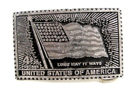 4 Cent Postage USA Flag Long May It Wave Belt Buckle 62514 - $24.99
