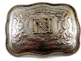 Mexican Alpaca Silvertone Initial / Letter N Belt Buckle 04228014 Not Si... - $49.49