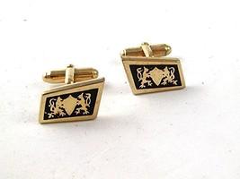 Vintage Gold Tone & Black 2 Lion Passant Shield Cufflinks 121416 - $15.29