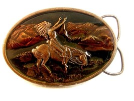 Vintage 1977 Siskiyou Chief Joseph of the Nez Perces Enameled Belt Buckle - $34.99