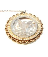"""Vintage Silver Tone Cut Out American Eagle Coin Pendant & 24"""" Chain - $44.99"""
