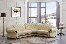 Versace Beige Genuine Top Grain Italian Leather Luxurious Sectional Sofa Right