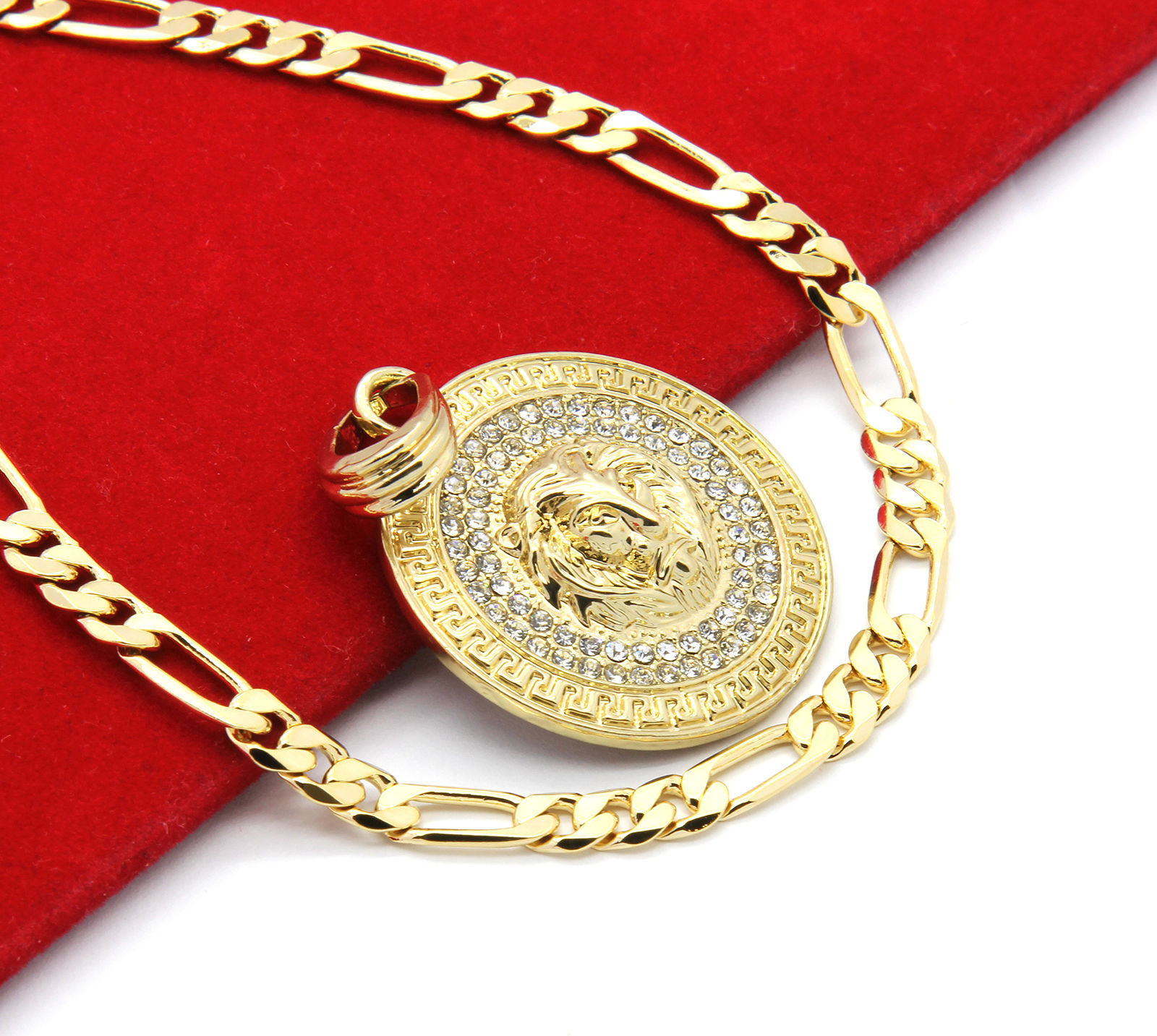 "Mens Medallion Patern Lion Gold Plated 24"" Figaro Chain Pendant Necklace"