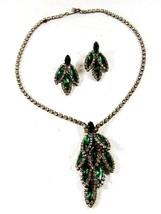 1950's Silvertone Green Rhiinestone Necklace & Pierced Earrings Unbranded - $31.49