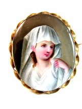 Vintage Hand Painted Porcelain Young Lady in White Brooch - $324.99