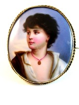 Vintage Hand Painted Porcelain Young Lady w/ Gold Necklace Brooch - $324.99