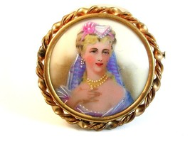 Limoges Hand Painted Porcelain Young Lady w/ Pearl Necklace & Earrings B... - $124.99
