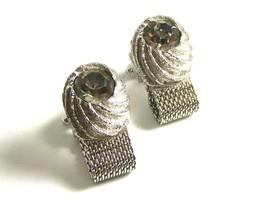 1970's Silvertone & Sparkley Rhinestone Wrap Around Cufflinks By Swank 100614 - $24.99