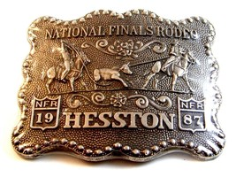 1987 Hesston National Finals Rodeo Calf Roping Belt Buckle - $22.99