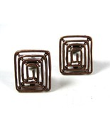 Pat No. 2733491 Mid Century Modern Copper Clip On Earrings Unbranded 73115 - $34.99