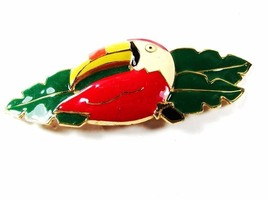 1980's Red White Yellow Toucan Green Belt Buckle By DOTTY SMITH 42716 - $19.99