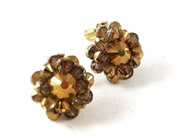 Vintage Gold Tone Crystal Clip On Earrings By HOBE 102416 - $24.99