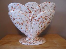 Vintage Royal Haeger Pottery Footed Vase~RG-26~White w/Orange Speckles~P... - $39.74