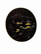 Signed Damascene Black & Goldtone Mt. Fuji Brooch Made In Japan 32816 - $64.99
