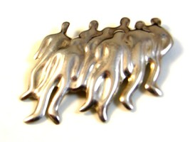 Vintage Mexican Taxco Sterling Silver Group of People Brooch - $51.29