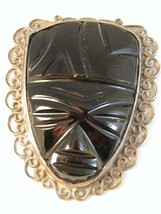 Huge Mexican Sterling Silver & Black Onyx Mayan Face Brooch - $144.99