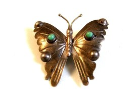 Signed Vintage Mexican Sterling Silver Turquoise Butterfly Brooch - €31,33 EUR