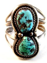 Native American Sterling Silver & Turquoise Cuff Bracelet by Manuel Hoyu... - $1,199.99