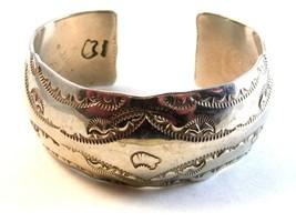 Signed Vintage Native American Sterling Silver Cuff Bracelet - $324.99