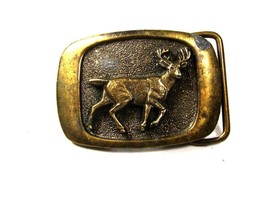 1983 Deer Brass Belt Buckle By MM United Made In USA 102615 - $24.99
