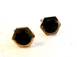 Vintage Silver Tone & Green Onyx Cufflinks by Dante - $16.99