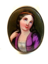 Vintage Hand Painted Porcelain Lady w/ Blue Eyes Brooch - $224.99