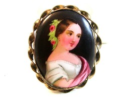 Vintage Hand Painted Porcelain Lady w/ Roses in Her Hair Brooch LImoges ... - $144.99