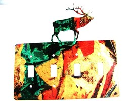 Reindeer Quadruple Light Switch Cover Plate by Steel Images USA 6415e - $36.99