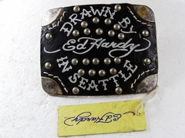 Drawn By In Seattle Black Leather Belt Buckle By ED HARDY 33116a w/ Tag - $44.99