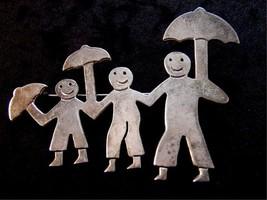 Vintage Taxco Mexican Dad Kids Boy Girl Mom Smiles Umbrellas Brooch - $54.99