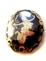 Vintage Siam Sterling Black Niello Enamel Dancer Brooch de - $44.99