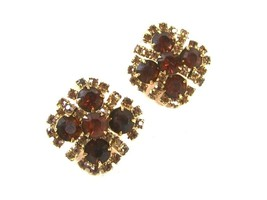 Vintage Brown Yellow Rhinestone Sparkly Clip On Earrings By KRAMER 52516 - $33.29