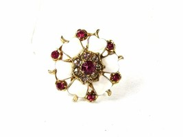 1950's-60's White Clear & Pink Rhinestones Brooch By CORO 42616 - $22.99