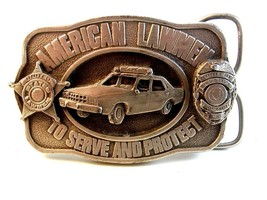 Vintage 1983 Siskiyou American Lawmen To Serve & Protect Belt Buckle - $24.99