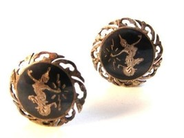 Vintage Siam Sterling Niello  Dancer Clip On Earrings - $28.99