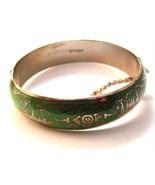 Vintage Siam Sterling Silver Green Niello Dance... - $76.49
