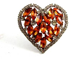 Vintage Dazzling Shiney Silvery & Amber Rhinestones Heart Brooch unmarked - $44.99